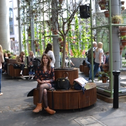 This was one of my favourite spots in Borough Market because of all the natural light and natural elements in the space including the wooden benches and innovative wooden seating arrangements, hanging plants, indoor trees and the fact that I felt like I was in a green house